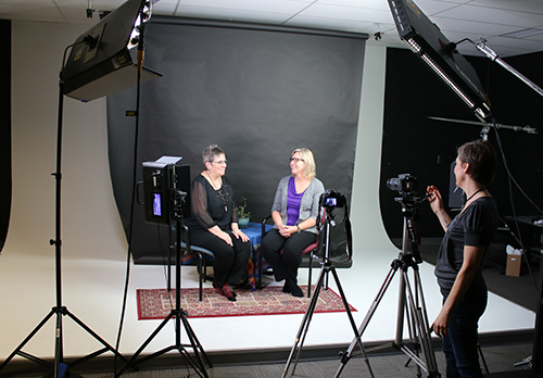 Filming for SPECTRUM's online modules took place at Selkirk College's Tenth Street Campus with Lisa Thiessen on camera (right) and instructors Jane Green (left) and Michelle Pozin (middle) captured in discussion. This innovative course offering perspectives about Autism Spectrum Disorder (ASD) across the lifespan begins January 8, 2018.