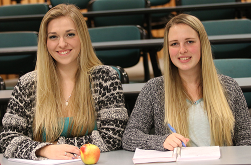 Eager to get into an in-demand profession in the medical field, Stanley Humphries graduates Ashlee Martini (left) and Jaylee Morton are currently taking the six-month Health Care Assistant Program through Selkirk College