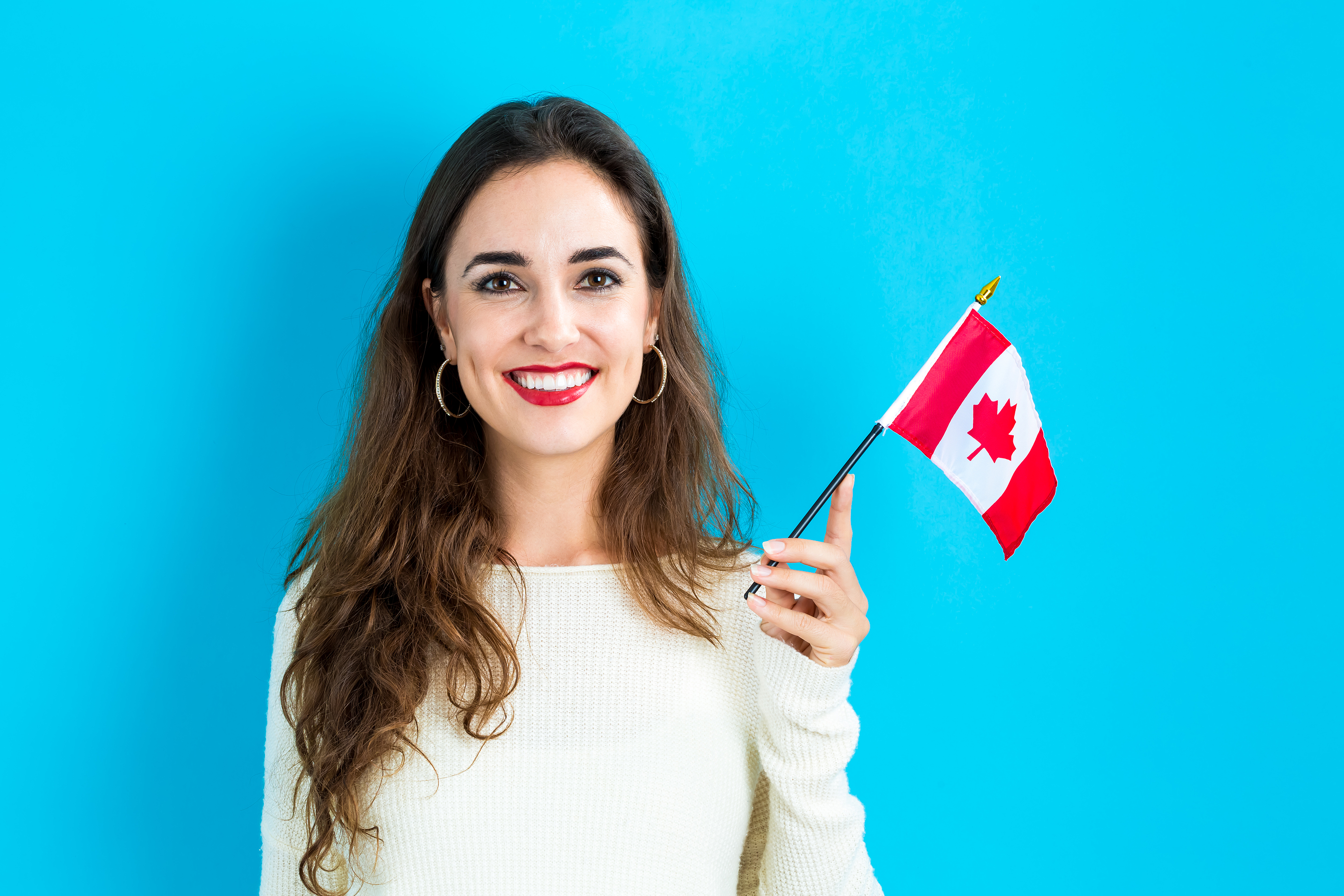 Lady with Canadian Flag