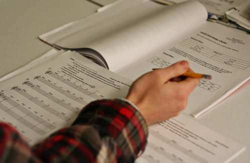 student studying music