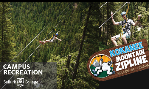Selkirk College offers trip to Kokanee Zipline.