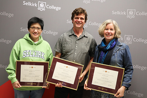 The Selkirk College Faculty Association Standing Committee on Professional Excellence (SCOPE) Awards recognized outstanding contributions to post-secondary education in the region at the annual event. (L-R) Jackie Belza, Jesper Nielsen and Tammy McLean. Missing: Jonathan Buttle.