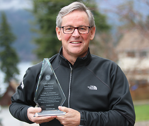 Chair of the School of Hospitality and Tourism Bob Falle has been honoured with a lifetime achievement award from the Canadian Ski Council. The dedicated outdoor recreation and tourism professional has been at Selkirk College for over 25 years.