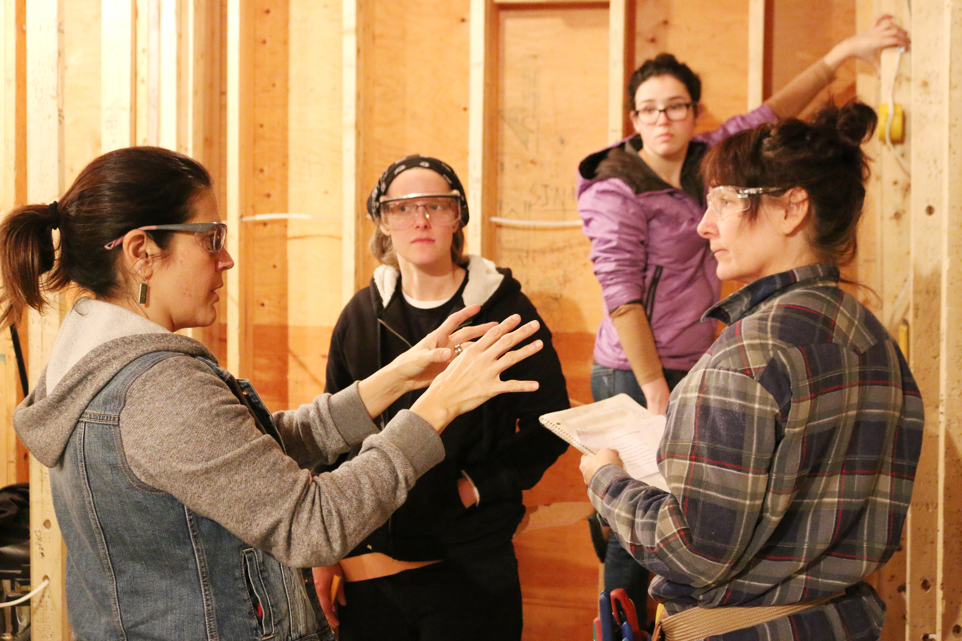 Julie-Claire Hamilton instructs women taking part in the Trades Discovery Program for Women.