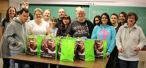 Students taking the Transitional Training program at Selkirk College in Nelson put together eight holiday hampers benefiting hungry students. They raised all the funds themselves, mostly through popcorn sales, and decided as a group to be generous with proceeds.