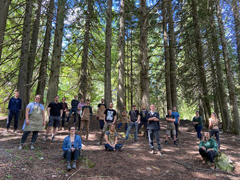 The Selkirk College Fine Woodworking Program Class of 2021 gather in the forested area behind the Silver King Campus in Nelson. Forced to adapt due to the pandemic, the annual Fine Woodworking Year-End Digital Show will be held virtually this year with a website that goes live on May 28.
