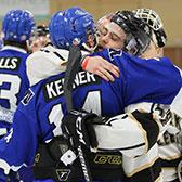 The Selkirk College Saints hockey team will be looking to reclaim the British Columbia Intercollegiate Hockey League championship this coming weekend in Langley against the Trinity Western University Spartans after a thrilling end to the semi-final series in Castlegar on Saturday night.