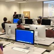 One of the workshops was held in the Selkirk College Digital Arts & New Media classrooms. Guest Artist: Patricia Gilhuly (Ktunaxa).