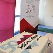 The Selkirk College 50th Anniversary cake that was prepared by Professional Cook Program instructor Simon Parr.