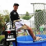 Selkirk College President Angus Graeme was up to the task and was dunked by both staff and students.