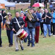 The Great Trek was led by members of the Trail Maple Leaf Band whose members include some of the original members of Moon's Merry Men who helped lead the parade through the streets of Castlegar 50 years ago.