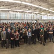 Current students from all programs at Nelson's Silver King Campus came to the Millwright/Machinist Program shop for the official announcement on Thursday morning. The students are in programs ranging from trades training to cosmetology to adult basic education.