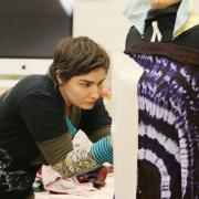 Students working in textiles studio