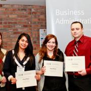 First Place Marketing Trade Show: Judge Wayne Kelly, Katherine Barrera, Sarah Rintoul, Rob Squires