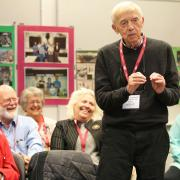 Former History Instructor Tom Cavanagh shared a humourous story with the group.