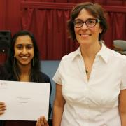 The John & Marjorie Lord Memorial Chemistry Scholarship was presented to Ameeta Bhabra (left) and presented by instructor Allyson Perrott.