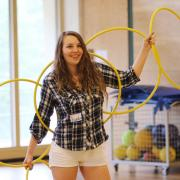 Students had the opportunity to take a workshop in hoop dance.