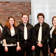 Third Place Business Competition: Judge Ron Anderson, Amanda Fulton, Dakota Moreau, Alex Donaldson, Lindsay Kooznetsoff