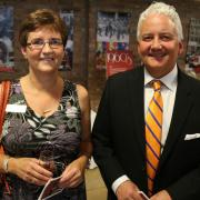 Selkirk College Vice President of Students & Advancement Cathy Mercer (left) with alumus and college supporter Dale Donaldson (right).
