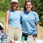 Slocan Valley Rail Trail Society volunteers helped answer questions about the marvelous amenity that runs along the Slocan River. — with Emily Rubinstein.