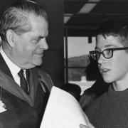Unknown student chatting with Premier Bill Bennett at opening, 1967.