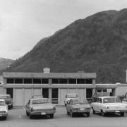 Faculty parking lot in front of the faculty lounge in 1972.