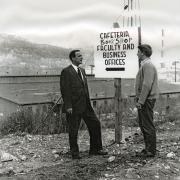 Campus signage in the early days.