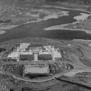 Aerial view of Selkirk College's Casltegar Campus, 1968.