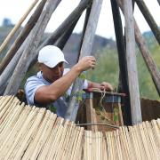 A traditional tipi was being constructed on site at the Mir Centre for Peace.