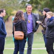 Wab Kinew, keynote speaker, arrived to the Mir Centre for Peace.